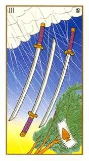 Three of Arrows Tarot Card - Ukiyoe Tarot Deck