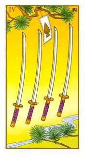 Four of Swords Tarot Card - Ukiyoe Tarot Deck
