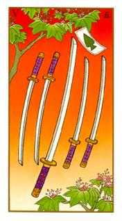 Five of Swords Tarot Card - Ukiyoe Tarot Deck