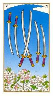 Six of Swords Tarot Card - Ukiyoe Tarot Deck