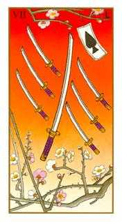 Seven of Swords Tarot Card - Ukiyoe Tarot Deck