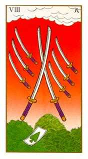 Eight of Swords Tarot Card - Ukiyoe Tarot Deck
