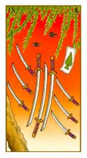Nine of Arrows Tarot Card - Ukiyoe Tarot Deck