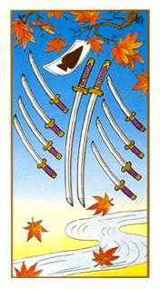 Ten of Arrows Tarot Card - Ukiyoe Tarot Deck