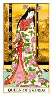Queen of Swords Tarot Card - Ukiyoe Tarot Deck