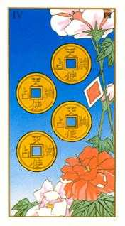 Four of Pumpkins Tarot Card - Ukiyoe Tarot Deck