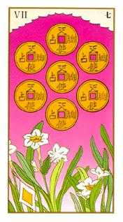 Seven of Pentacles Tarot Card - Ukiyoe Tarot Deck