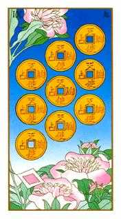Nine of Coins Tarot Card - Ukiyoe Tarot Deck
