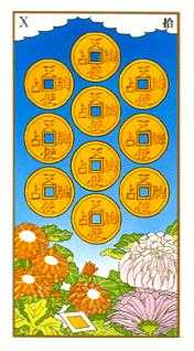Ten of Pentacles Tarot Card - Ukiyoe Tarot Deck