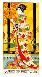 Queen of Coins Tarot Card - Ukiyoe Tarot Deck