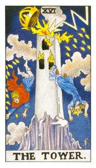 The Falling Tower Tarot Card - Universal Waite Tarot Deck