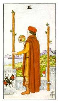 Two of Batons Tarot Card - Universal Waite Tarot Deck