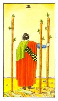 Three of Batons Tarot Card - Universal Waite Tarot Deck