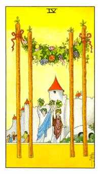Four of Staves Tarot Card - Universal Waite Tarot Deck