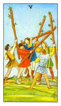 Five of Batons Tarot Card - Universal Waite Tarot Deck