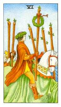 Six of Staves Tarot Card - Universal Waite Tarot Deck