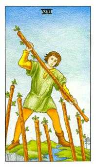Seven of Staves Tarot Card - Universal Waite Tarot Deck