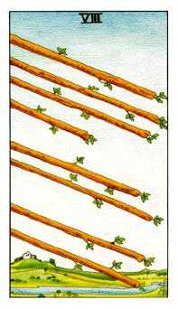 Eight of Staves Tarot Card - Universal Waite Tarot Deck