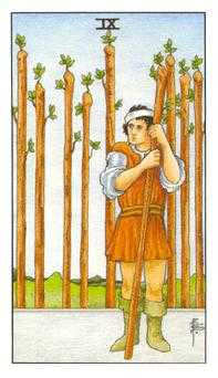 Nine of Staves Tarot Card - Universal Waite Tarot Deck