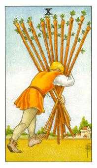 Ten of Batons Tarot Card - Universal Waite Tarot Deck