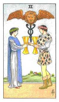 Two of Hearts Tarot Card - Universal Waite Tarot Deck