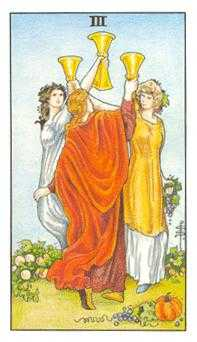 Three of Bowls Tarot Card - Universal Waite Tarot Deck