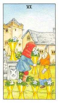 Six of Cauldrons Tarot Card - Universal Waite Tarot Deck