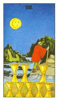 Eight of Bowls Tarot Card - Universal Waite Tarot Deck