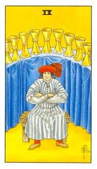 Nine of Bowls Tarot Card - Universal Waite Tarot Deck