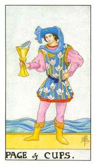 Page of Cauldrons Tarot Card - Universal Waite Tarot Deck