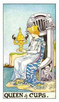 Queen of Bowls Tarot Card - Universal Waite Tarot Deck