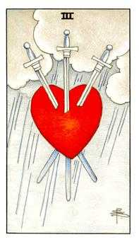 Three of Spades Tarot Card - Universal Waite Tarot Deck