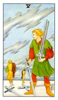 Five of Swords Tarot Card - Universal Waite Tarot Deck