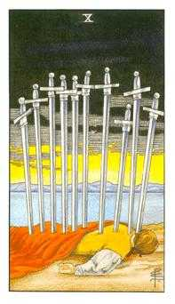 Ten of Arrows Tarot Card - Universal Waite Tarot Deck