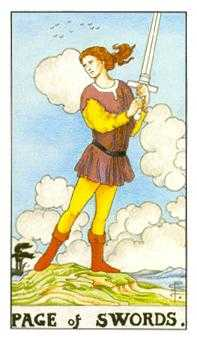 Page of Swords Tarot Card - Universal Waite Tarot Deck