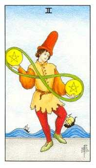Two of Pentacles Tarot Card - Universal Waite Tarot Deck