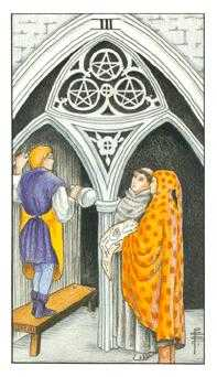 Three of Discs Tarot Card - Universal Waite Tarot Deck