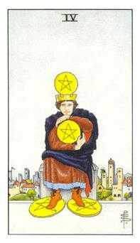 Four of Coins Tarot Card - Universal Waite Tarot Deck