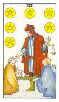 Six of Pentacles Tarot Card - Universal Waite Tarot Deck