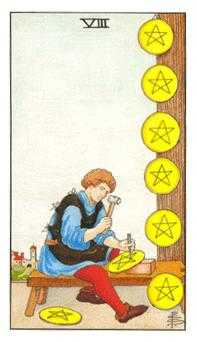Eight of Coins Tarot Card - Universal Waite Tarot Deck