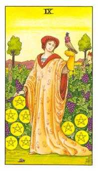 Nine of Coins Tarot Card - Universal Waite Tarot Deck