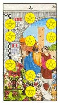 Ten of Discs Tarot Card - Universal Waite Tarot Deck