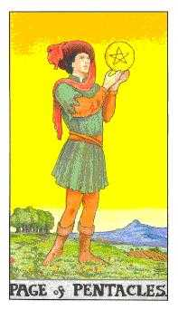 Page of Discs Tarot Card - Universal Waite Tarot Deck