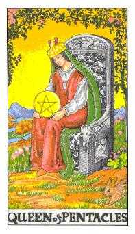 Queen of Coins Tarot Card - Universal Waite Tarot Deck