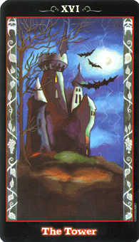 The Falling Tower Tarot Card - Vampire Tarot Deck