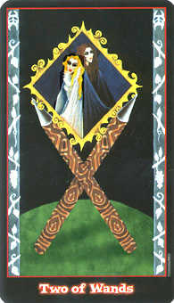 Two of Rods Tarot Card - Vampire Tarot Deck