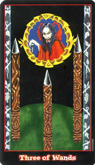 Three of Rods Tarot Card - Vampire Tarot Deck