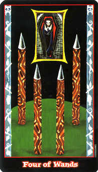 Four of Rods Tarot Card - Vampire Tarot Deck