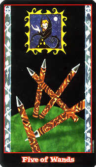Five of Sceptres Tarot Card - Vampire Tarot Deck