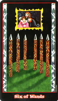 Six of Pipes Tarot Card - Vampire Tarot Deck